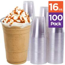 Stack Man Clear Disposable Plastic-Cups 16 oz. [100 Pack] Ultra PET Cold Drinks, Perfect Use for Party, Beer, Smoothies, Premium Quality