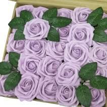 J-Rijzen Jing-Rise Artificial Flowers 50pcs Real Touch Lilac Foam Roses with Stem for Bridal Shower Centerpieces Birthday Party Arrangements Wedding Bouquet Home Decorations (Lilac)
