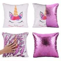 Merrycolor Mermaid Pillow Cover Unicorn Pillow Case Magic Reversible Sequin Pillow Cover Throw Cushion Case Decorative Pillowcase Purple