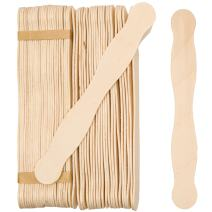 "Wooden 8"" Fan Handles, Wedding Programs, or Paint Mixing, Pack 100, Jumbo Craft Popsicle Sticks for Auction Bid Paddles, Wooden Wavy Flat Stems for any DIY Crafting Supplies Kit, by Woodpeckers"