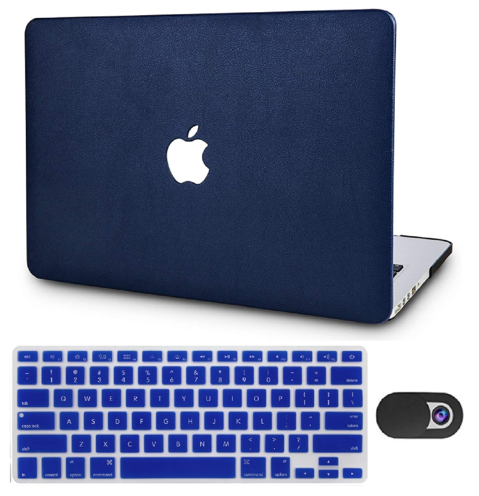 """KECC Laptop Case for New MacBook Air 13"""" Retina (2019/2018, Touch ID) w/Keyboard Cover Italian Leather A1932 + Webcam Cover 3 in 1 Bundle (Dark Blue Leather)"""