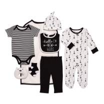 Mini B. by Baby Starters 9-Piece Hello I'm New Here Layette Set Black/White 3-6 Months for Sleep & Play with Bodysuit, Pants, More