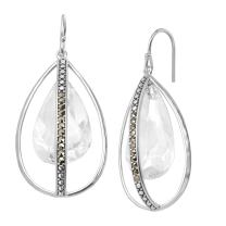Silpada 'Happy Hour' Drop Earrings with Swarovski Crystals & Marcasite in Sterling Silver