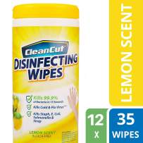 Clean Cut Disinfecting Wipes, Lemon Scent, 35 Wet Wipes, 12-Pack, Kills 99.9% of Bacteria, Multi-Surface Cleaning Wipes, Great for Kitchens, Bathrooms, Offices, and Classrooms