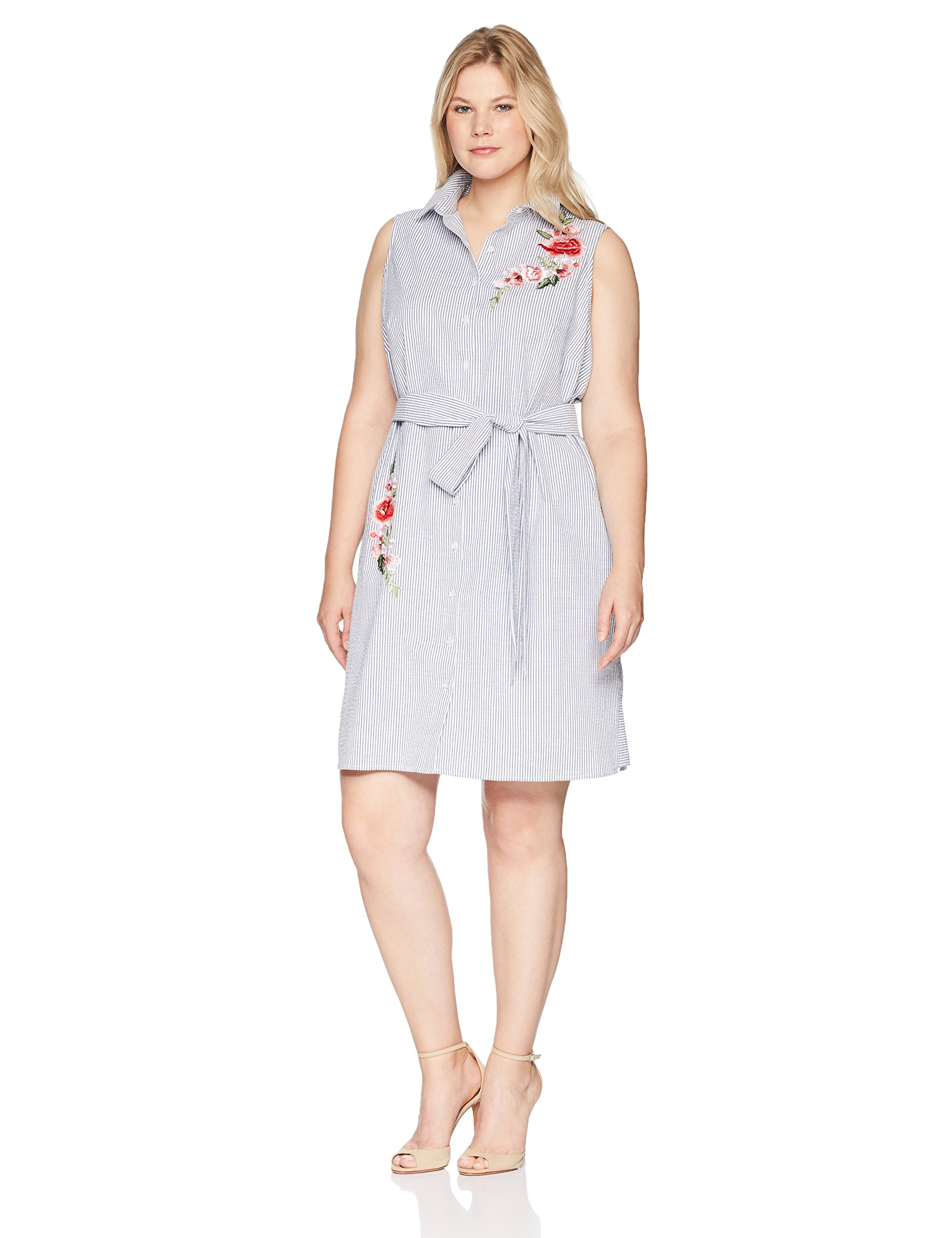 Jessica Howard Plus Size Womens Button Front Shirt Dress