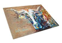 Caroline's Treasures MW1165LCB On the Loose Brown Cow Glass Cutting Board Large Size, 12H x 16W, multicolor