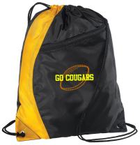 Personalized Football Cinch Bag with Custom Text | Drawstring Backpack with Customizable Embroidered Monogram Design (Gold/Black)