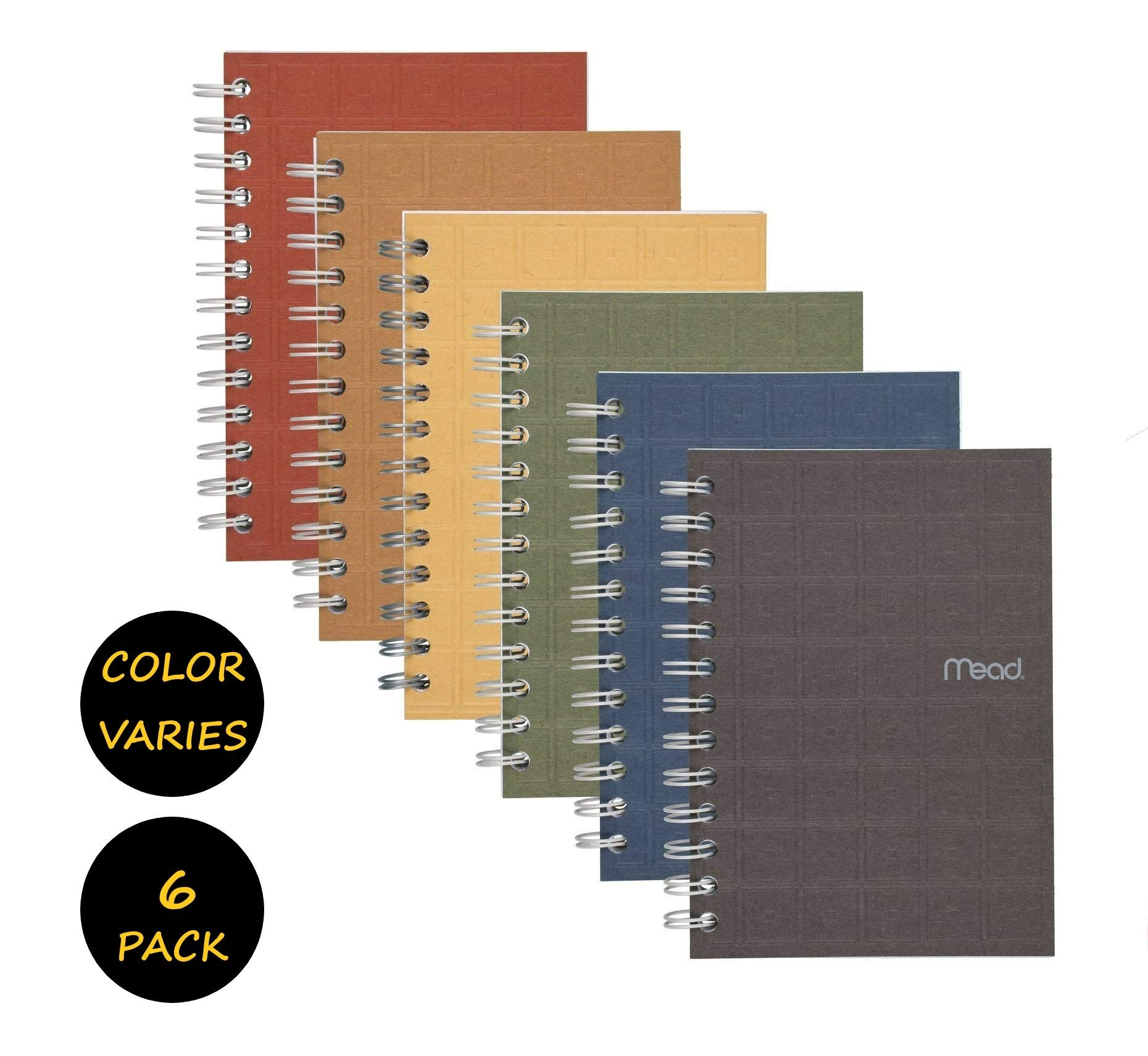 """Mead Spiral Notebook, College Ruled Paper, 80 Sheets, 7"""" x 5"""", Recycled, Assorted Colors, 6 Pack (45186)"""