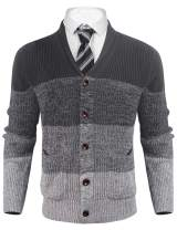 Aibrou Men's Soft Cotton Shawl Collar Cardigan Sweater Button Down Knitwear with Pockets