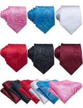Barry.Wang Men Classic Tie Set with Pocket Square Cufflink Silk Woven Necktie Formal Wedding Party 6PCS