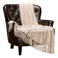 Chanasya Chenille Velvety Texture Decorative Throw Blanket with Tassels Super Soft Cozy Elegant with Subtle Shimmer for Sofa Chair Couch Bed Living Bed Room Ivory Throw Blanket (50x65 Inches) Cream