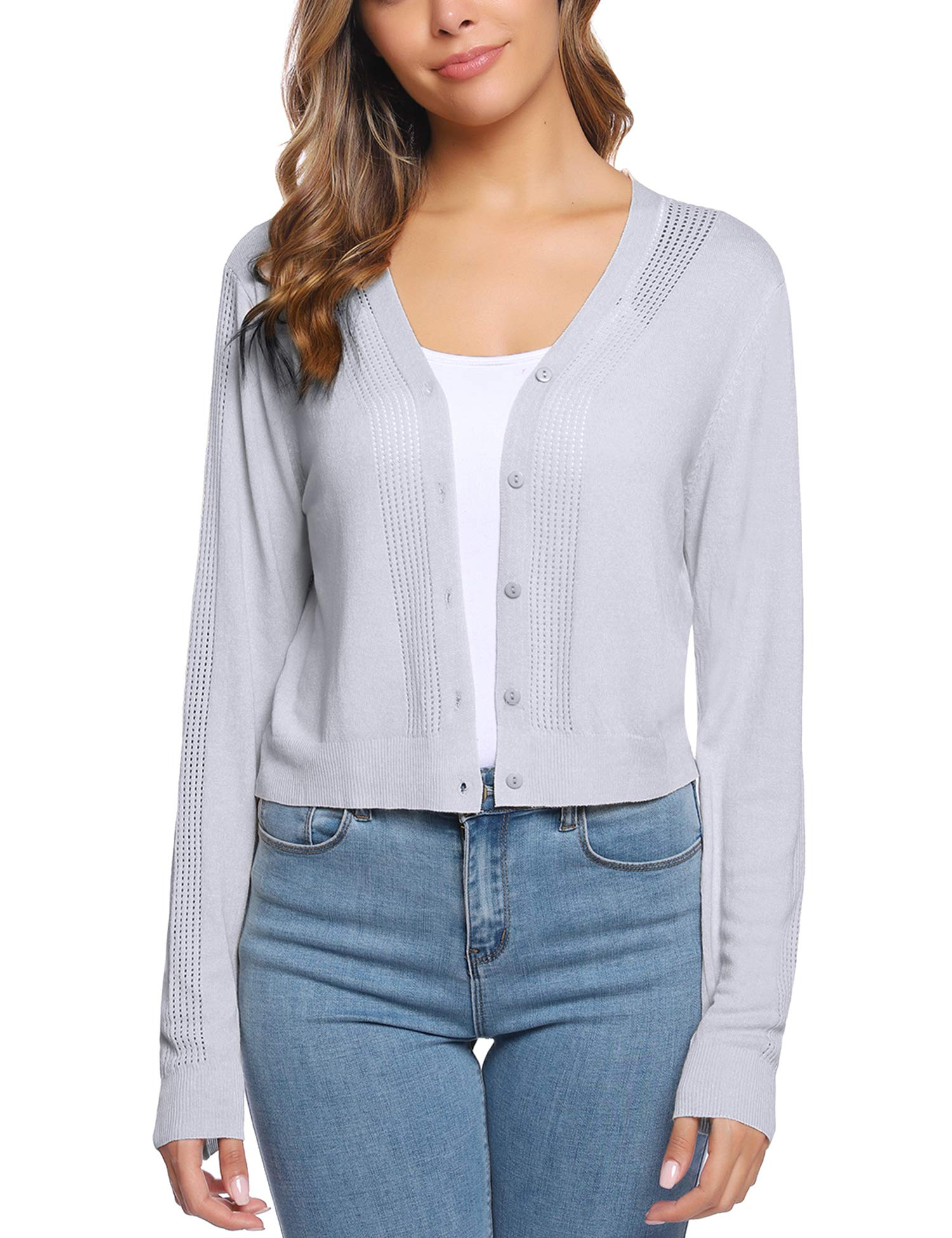 iClosam Women Cropped Long Sleeve Bolero Shrug Button Down Cardigan Sweater