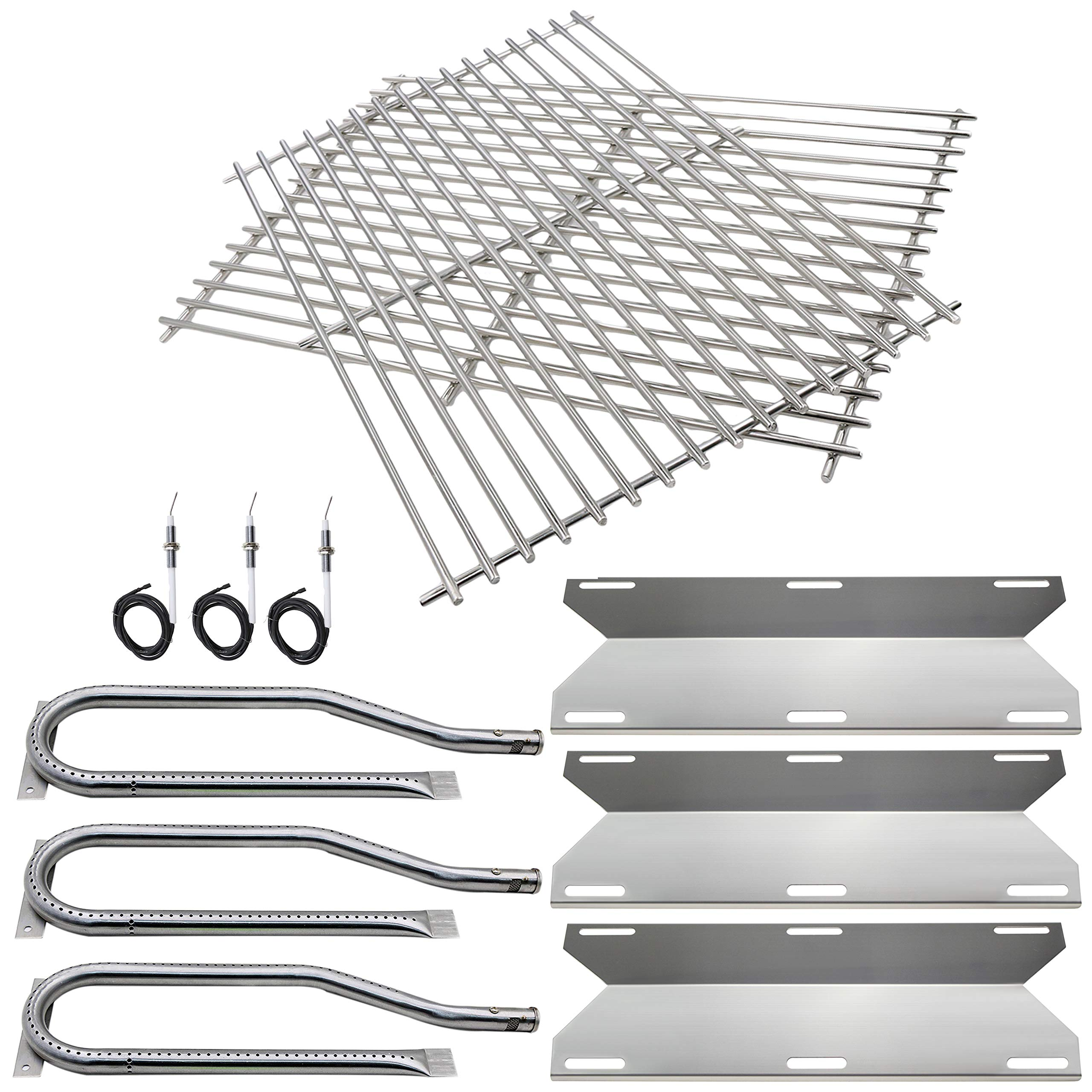 Hisencn BBQ Repair Kit Replacement for Jenn Air Gas Grill 720-0336, 7200336, 720 0336 Grill Stainless Steel Burners,Stainless Steel Heat Plates Stainless Steel Cooking Grid Grates & igniters