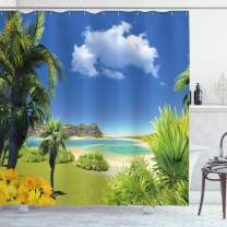 """Ambesonne Tropical Shower Curtain, Paradise Beach with Palm Trees in Exotic Island Happiness Coastal Charm Image, Cloth Fabric Bathroom Decor Set with Hooks, 75"""" Long, Blue Green"""