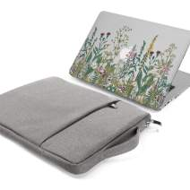 GMYLE MacBook Air 13 Inch Case A1466 A1369 Old Version 2010 2017 and 13 13.3 Inch Handle Carrying Sleeve Bag 2 in 1 Set (Garden Flower & Grey)