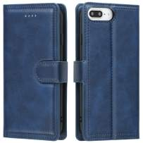 EYZUTAK Double Line Leather Case for iPhone 6 Plus iPhone 6S Plus iPhone 7 Plus iPhone 8 Plus, Solid Color Full Coverage Premium Flip Leather Case with Magnetic Closure Kickstand Card Slots - Blue