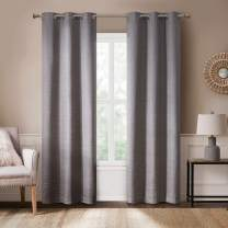 Rustic Modern Curtains for Living Room | Farmhouse Bedroom Window Treatment | Grasscloth Faux Linen | Room Darkening Grommet Top Decor | Taupe 40x95 Inches - 2 Panels