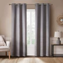 Rustic Modern Curtains for Living Room   Farmhouse Bedroom Window Treatment   Grasscloth Faux Linen   Room Darkening Grommet Top Decor   Taupe 40x95 Inches - 2 Panels