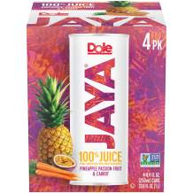 DOLE JAYA Juice, Pineapple/Passion Fruit/Carrot, 4 Count (Pack of 6)
