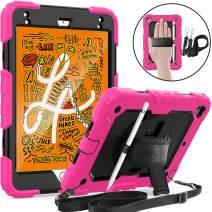 SEYMAC iPad Mini 5 Case, iPad Mini 4 Case, Full Body Protection Case with Screen Protector 360 Degree Hand Strap&Stand Shoulder Strap Pencil Holder for iPad Mini 5/4 7.9 Inch-Pink/Black