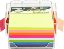 4A Sticky Note Dispenser Pen Holder Set,Self-Stick Notes,8 Ultra Colors 3X3 Inches 400 Neon Sheets Sticky Notes and 11 3/4 Inches 2X50 Sheets.100 Flags,4A 303-AC-holder
