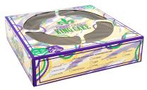 """Southern Champion Tray 2486 Clay Coated Kraft Paperboard Mardi Gras King Cake Print Window Bakery Box, 10"""" Length x 10"""" Width x 2-1/2"""" Height (Case of 100)"""