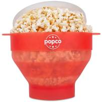 The Original Popco Silicone Microwave Popcorn Popper with Handles, Silicone Popcorn Maker, Collapsible Bowl Bpa Free and Dishwasher Safe - 15 Colors Available (Transparent Red)