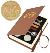 Samyo Wax Seal Stamp Kit Retro Creative Sealing Wax Stamp Maker Gift Box Set Brass Color Head with Vintage Classic Alphabet Initial Letter (K)