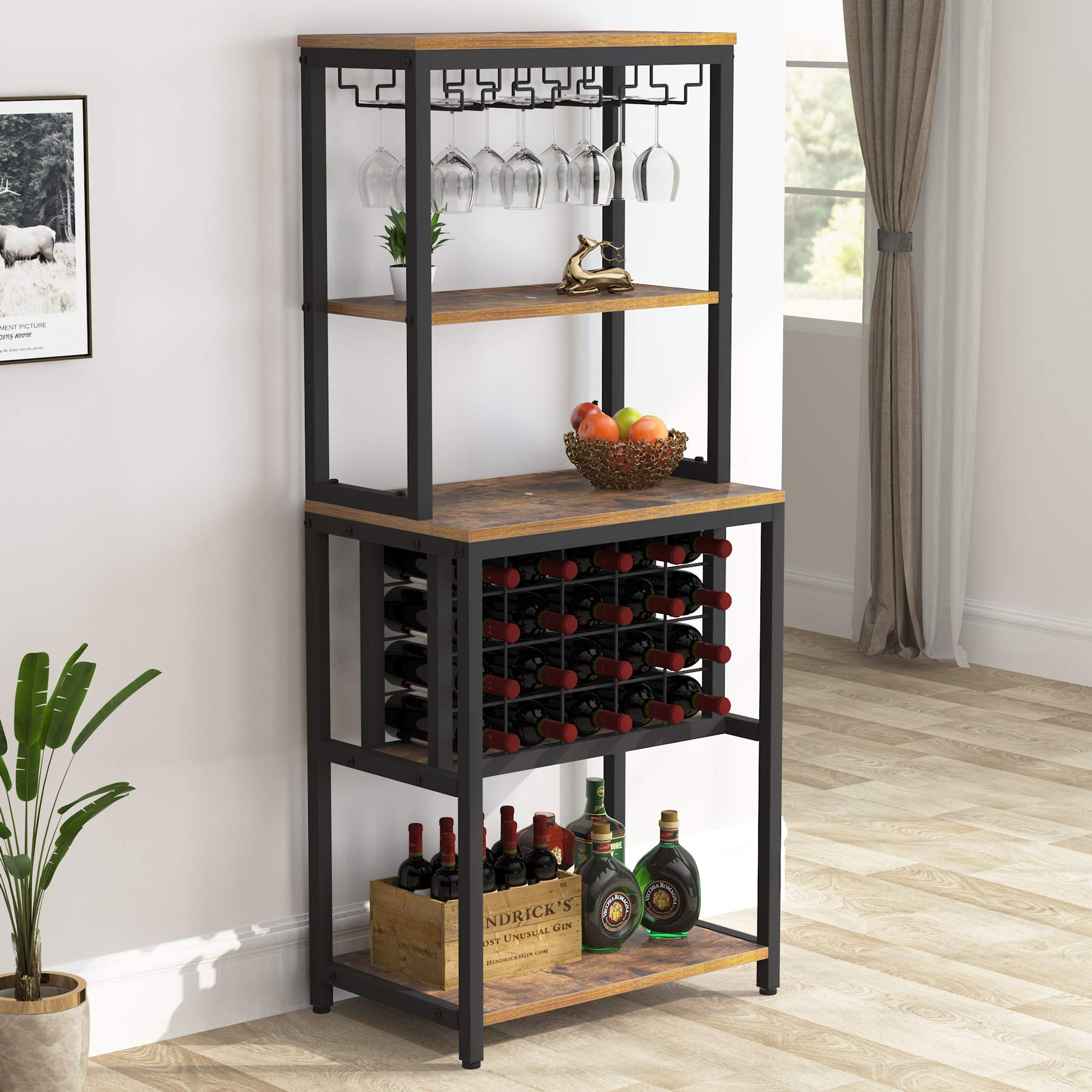 Tribesigns 4-Tier Wine Bakers Rack, Freestanding Wine Rack with Glass Holder and Wine Storage, Multi-Function Home Bar Furniture Wine Bar Cabinet for Kitchen Dining Room
