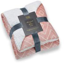 Hyde Lane Comfy Sherpa Throw Blankets for Couch and Bed   Cozy Gifts for Women   Sherpa & Berber - Adults Size with Fuzzy Faux Fur (Diamond Blush, 50 x 60)