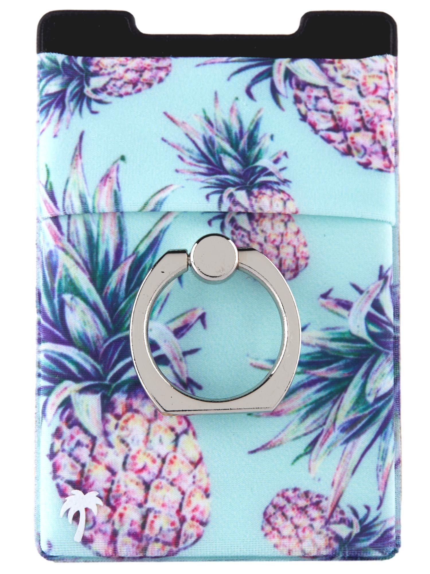 Lifestyle Designs The StickyWallet +Ring –New 4-in-1 Spandex Stick-on Wallet w/Kickstand Finger Ring – Best Card Holder Sticker for Any Phone: iPhone 11 Pro Max XR XS X etc. (Green Pineapple)