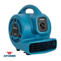 XPOWER P-80A Mini Mighty Air Mover Utility Fan with Built-in Power Outlets - Blue