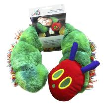 Eric Carle Kid's Neck Pillow, Children's Neck Support Pillow, Car Seat Head Support , The Very Hungry Caterpillar, Polyester, Soft and Plush, Green