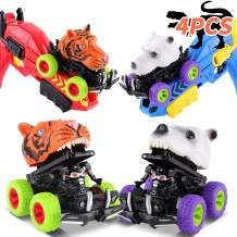 FiGoal Two Pack Monster Cars with Toy Gun Launchers Gifts for Kids for Family Fun Friction Powered Toy Cars Vehicles for Boys and Toddlers Games Toys Gifts for Birthday Color 2 Easter Party Favors