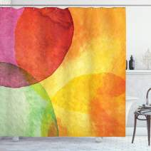 """Ambesonne Abstract Shower Curtain, Abstract Watercolor Painted Paper Style in Modern Art Design Print, Cloth Fabric Bathroom Decor Set with Hooks, 84"""" Long Extra, Yellow Orange"""
