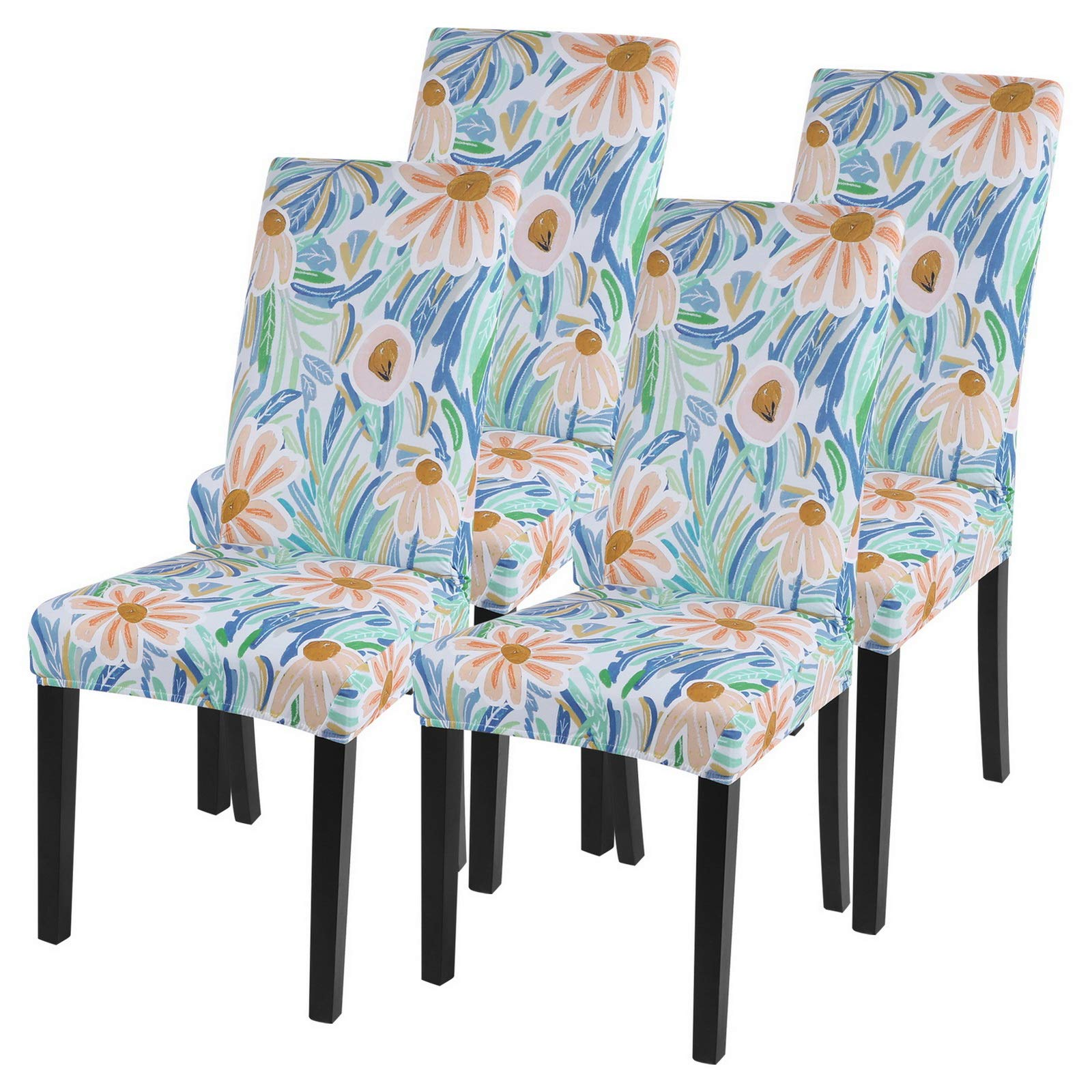 SearchI Dining Room Chair Covers Slipcovers Set of 4, Spandex Super Fit Stretch Removable Washable Kitchen Parsons Chair Covers Protector for Dining Room,Hotel,Ceremony(Pattern1)