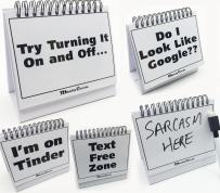 Moodycards - Funny Office Gifts - Over 30 Different Mood and Practical Flip-Over Messages - Includes Erasable Pen and Blank Boards to Write Your own.