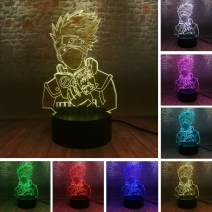 Naruto Japanese Anime Hatake Kakashi Figure 3D Vision LED 7 Color Night Light Acrylic Base Lamp Child Gift Kids Manga Table Decor Sons Birthday Gifts for Friends Family Gifts (Naruto Kakashi)