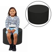 """FDP SoftScape 18"""" Round Ottoman, Collaborative Flexible Seating for Kids, Teens, Adults Furniture for Classrooms, Libraries, Offices and Home, Junior 12"""" H - Black"""