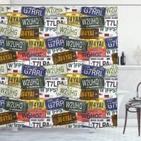 "Ambesonne USA Shower Curtain, Retro American Auto License Plates Utah Washington Rhode Island North Carolina Print, Cloth Fabric Bathroom Decor Set with Hooks, 84"" Long Extra, Multicolor"