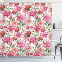 "Ambesonne Watercolor Flower Shower Curtain, Victorian Floral Pattern Painting Style Print with Peonies and Roses, Cloth Fabric Bathroom Decor Set with Hooks, 70"" Long, Pink Red"