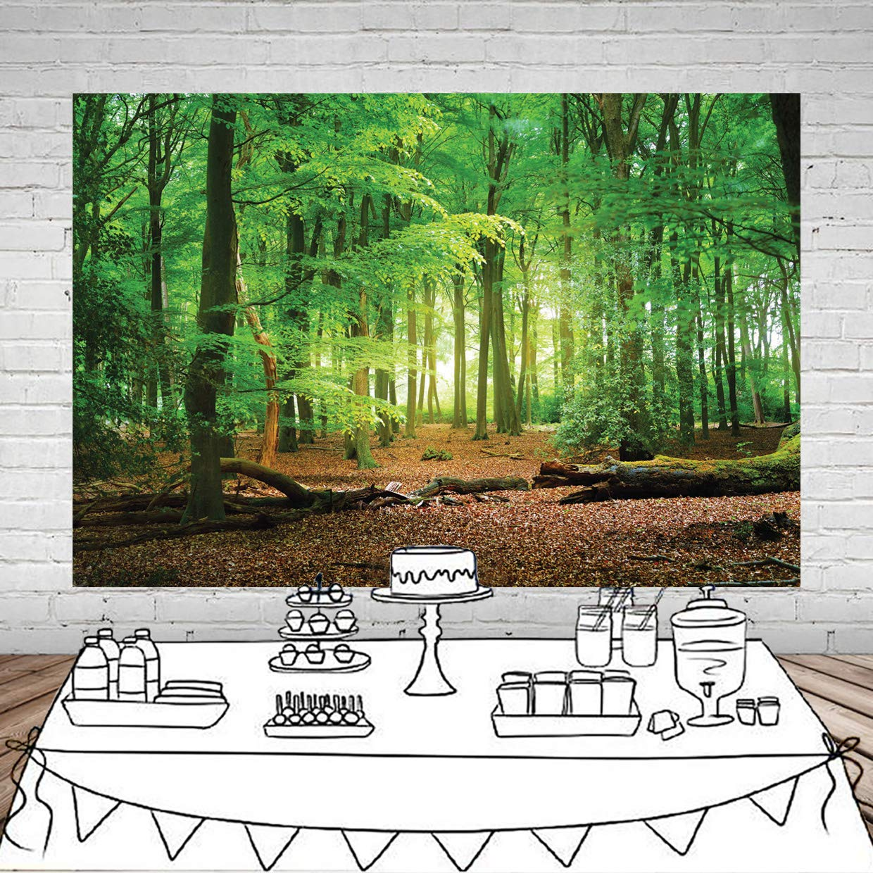SJOLOON 7X5ft Spring Green Forest Thin Vinyl Photo Backdrops Camping Themed Baby Shower Photography Background Studio Props 10516
