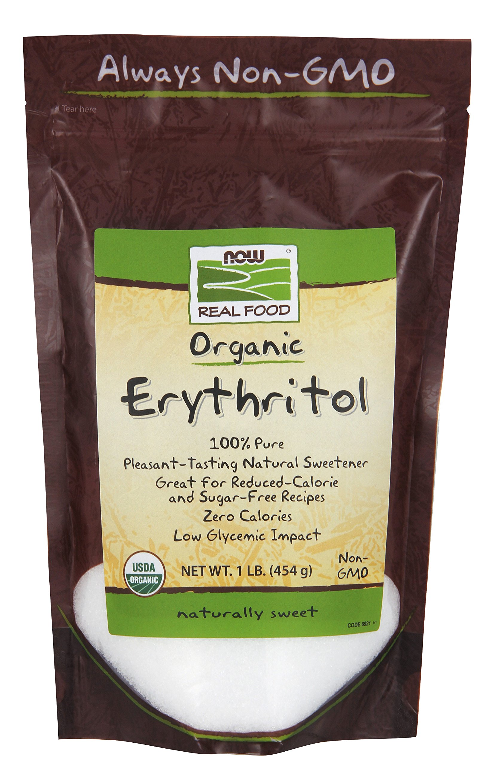 NOW Foods, Organic Erythritol, Pleasant Sweetner for Reduced-Calorie and Sugar-Free Recipes, Zero-Calorie, Low Glycemic Impact, 1-Pound