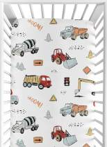 Sweet Jojo Designs Construction Truck Boy Fitted Crib Sheet Baby or Toddler Bed Nursery - Grey Yellow Orange Red and Blue Transportation