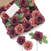 Ling's moment Artificial Flowers Burgundy & Pinky Cedar Roses 25pcs Real Looking Fake Roses w/Stem for DIY Wedding Bouquets Centerpieces Arrangements Party Baby Shower Home Decorations