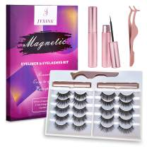 2021 Upgraded Magnetic Lashes, JYXINK Magnetic Eyelashes with Eyeliner Stay on Long, 10 Pairs False Eyelashes Natural Look with Applicator, Easy to Wear and Remove