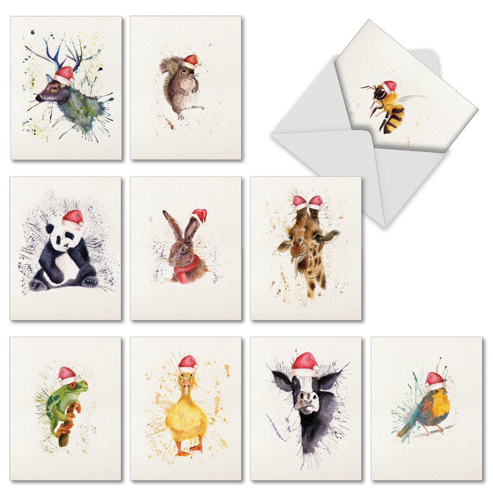 The Best Card Company - 10 Wildlife Expressions Christmas Cards (4 x 5.12 Inch) - Assortment of Boxed Watercolor Animal Cards w/Envelopes M2973XSG