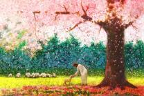 """Yongsung Kim - in Green Pastures Painting - Jesus Reaching Out To A Lamb - 5"""" x 7"""" Print from HavenLight"""