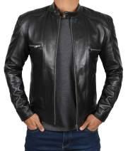 Blingsoul Black Leather Jackets for Men - Cafe Racer Real Leather Motorcycle Style Jacket Men