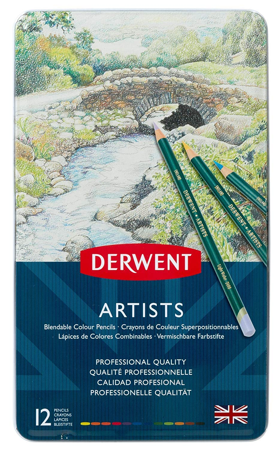 Derwent Artists Colored Pencils, 4mm Core, Metal Tin, 12 Count (32092)